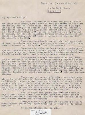 Carta de Ribera a Félix Heras a Ángel Ribera en 1959