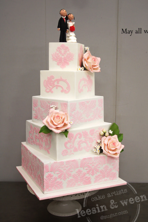 penang wedding cakes by leesin pink stencil off set wedding cake. Black Bedroom Furniture Sets. Home Design Ideas