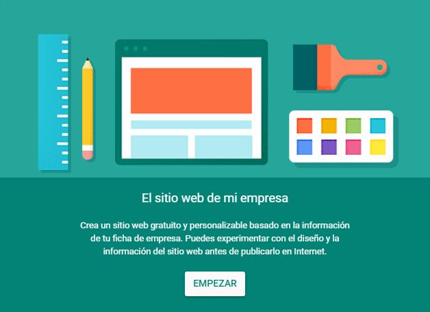 Google My Business te permite crear una web de tu negocio gratis