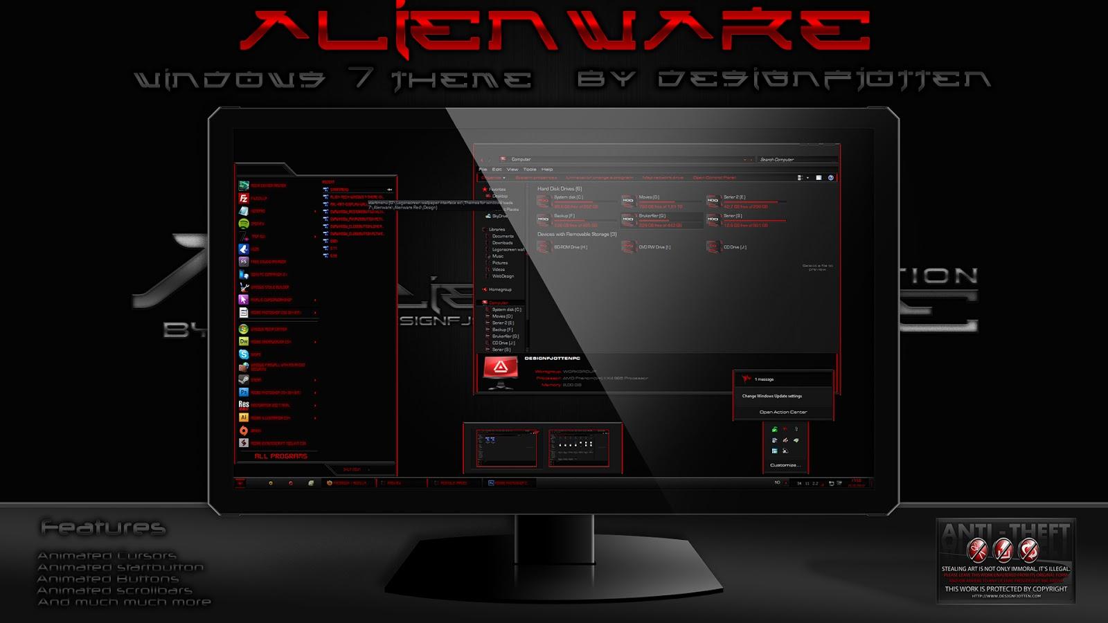 Alienware theme for windows 8.