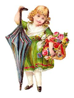 girl flower basket victorian image digital download