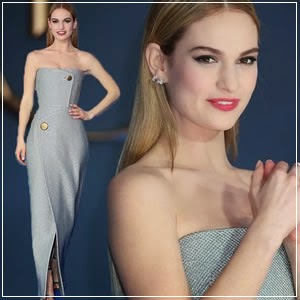 Lily James Dazzles at Cinderella Premiere in Thigh-Split Silver Dress