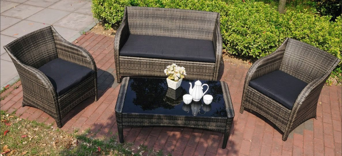 Mission Hills Collection: 4pc Outdoor Wicker Rattan Furniture Set