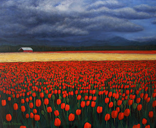 """oil painting of Skagit Valley Tulips, 16"""" x 20"""", copyright Anne Doane 2017"""