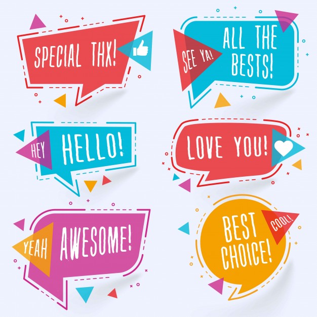 Modern colorful chat bubbles Free Vector