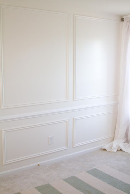 Floor to ceiling trim squares/wainscoting on wall