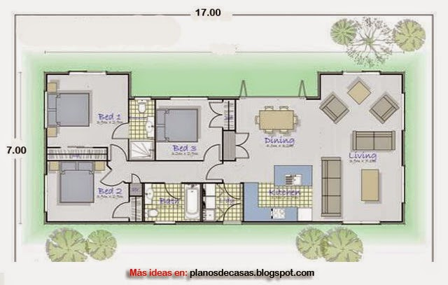Plano de casa rectangular de 17 m x 7 m planos de casas - Distribucion casa alargada ...