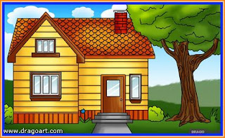 Gambar sebuah rumah kayu berwarna coklat berbumbung merah bata.