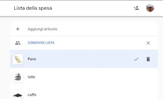 shopping list Google