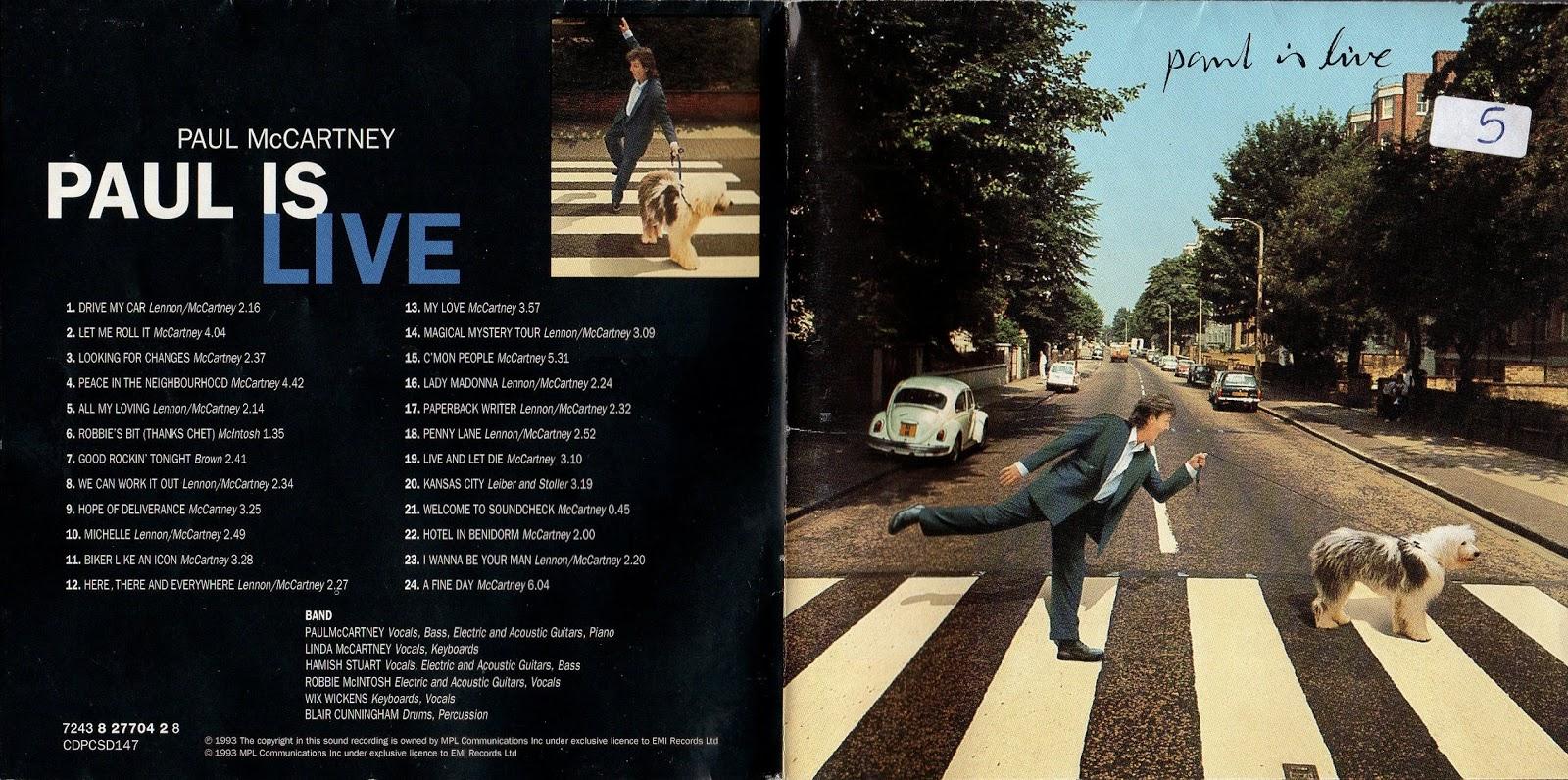 Portada y contraportada del álbum 'Paul Is Live' de Paul McCartney