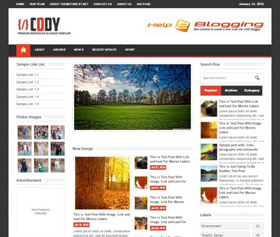 Cody Responsive Newspaper Blogger Template Free Download