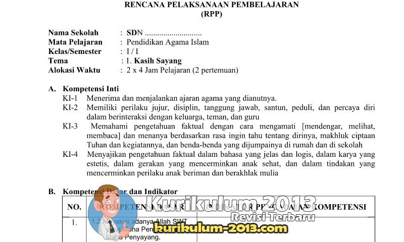 Download RPP PAI SD MI Kurikulum 2013 Kelas 1-6 - Contoh RPP K13 SD