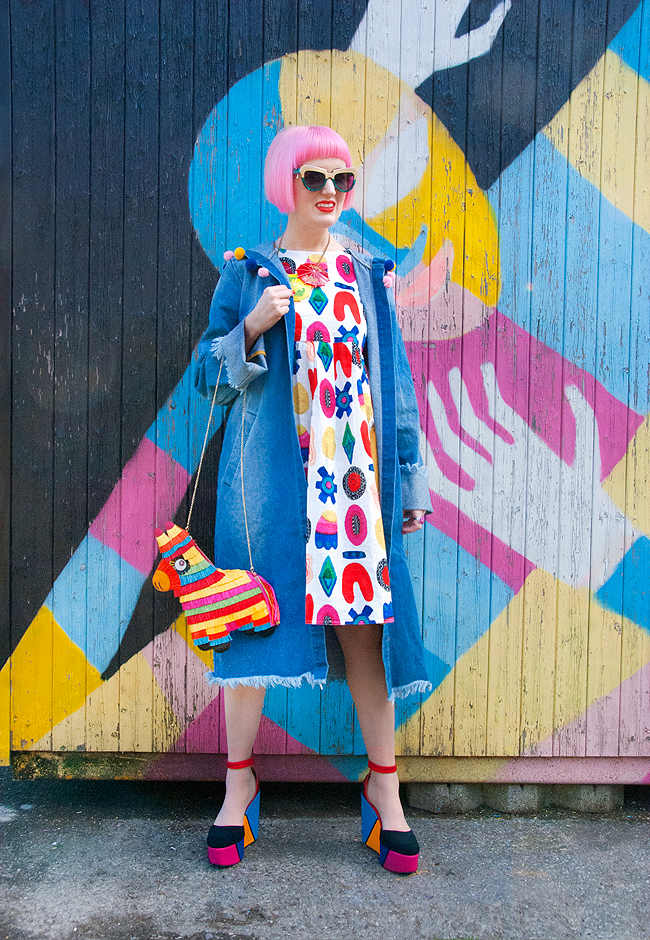 denim coat, liz payne dress, piñata bag