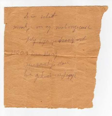 Afscheidsbriefje van Jaap Walvisch, (foto: Joodsmonument)