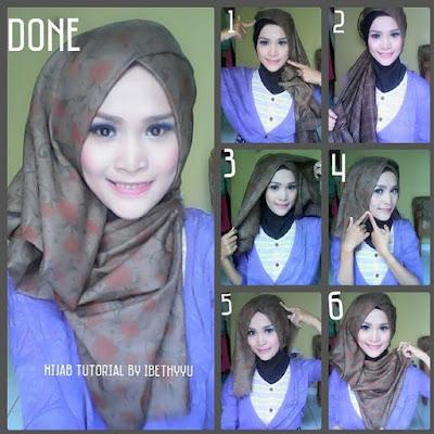 Tutorial Hijab Turban Segi Empat Modern Gaya #23 Eksclusive Look