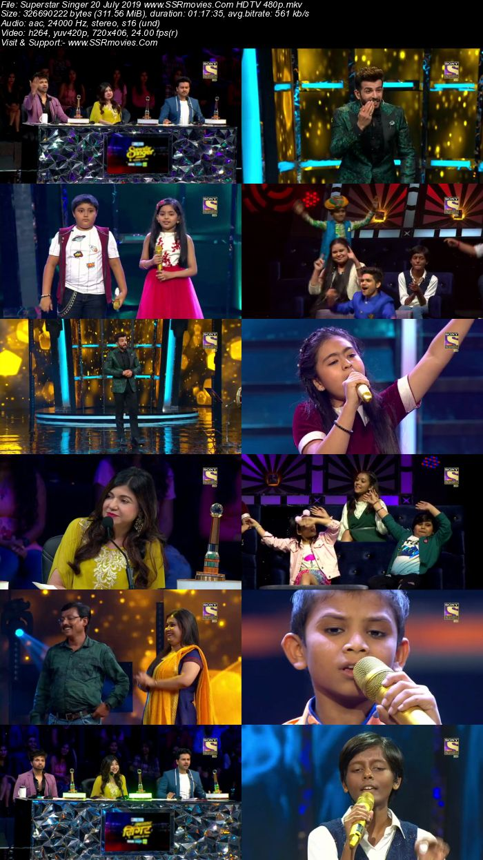 Superstar Singer 20 July 2019 HDTV 480p Full Show Download | SSR Movies