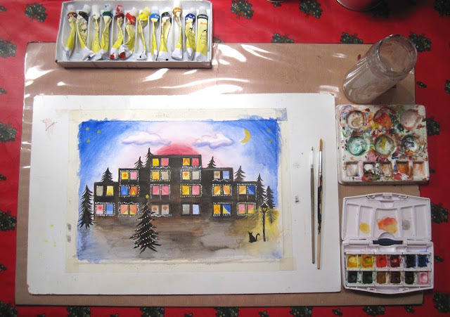 Christmas watercolor (+acrylic) painting of an apartment building decorated for Christmas + free download: 12 Tools I Use to Create My Watercolor Paintings.