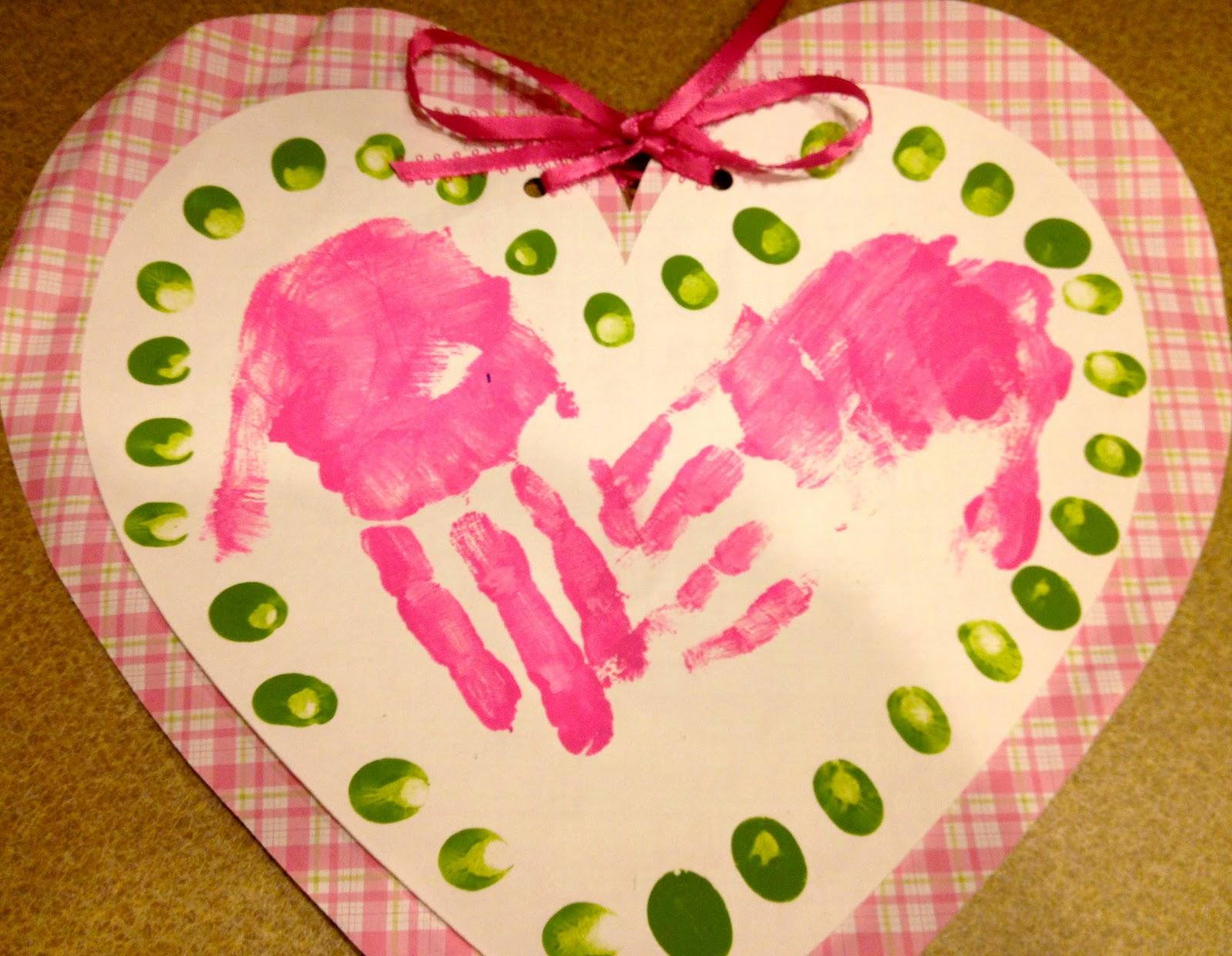 My First Grade Backpack Valentine Handprint Heart