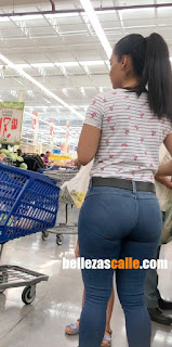 Sexy mujer supermercado lindo trasero redondo
