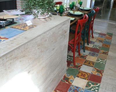 piso de ladrilho hidráulico cozinha
