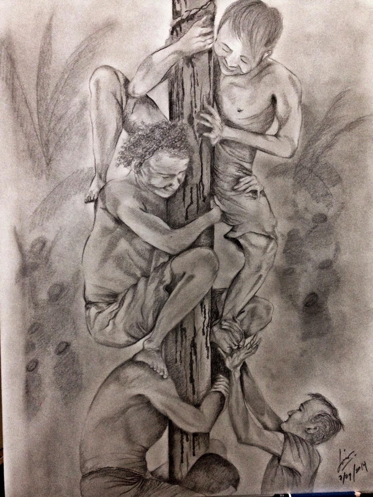 Kumpulan Sketsa Gambar Lomba Panjat Pinang