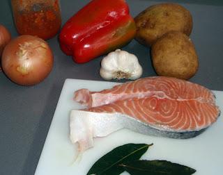 Ingredientes para la elaboración de la marmita de salmón