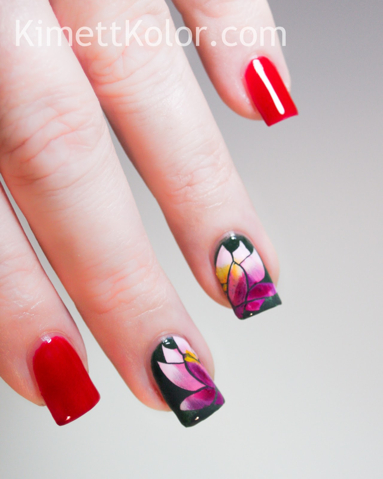 july theme nail art ruby and water lily