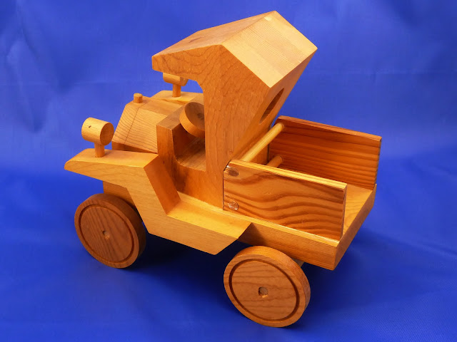 Left Rear View - Wooden Toy Truck - Norm Marshall Model T Pickup Truck