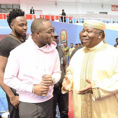Davido With President Ali Bongo of Gabon.