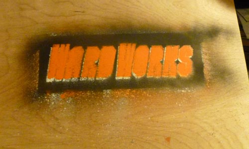 Painted WardWorks stencil