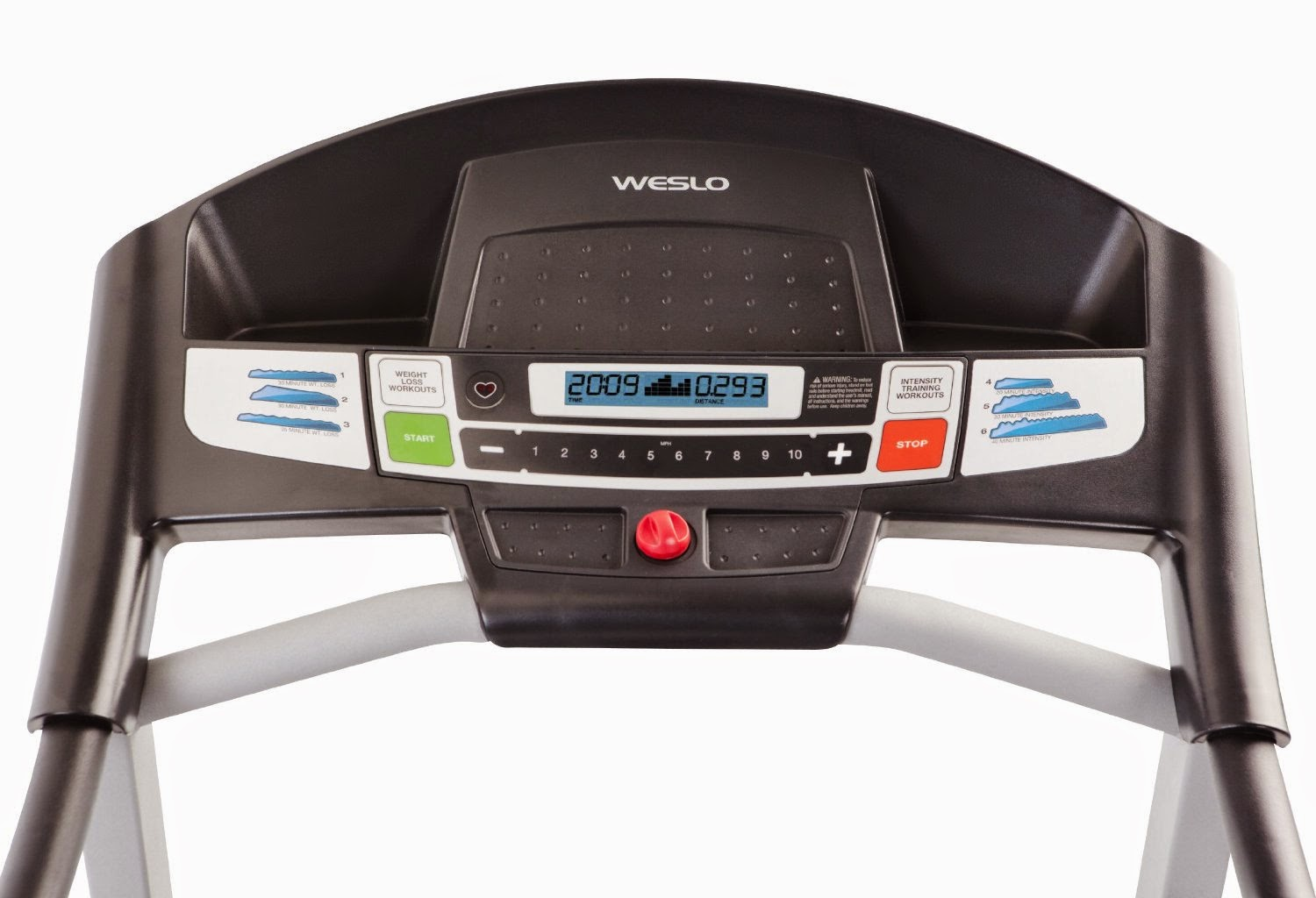 Weslo Cadence G 5.9 Console, blue-tinted LCD display shows workout stats including time, distance, speed, pulse, calories, with touch button controls