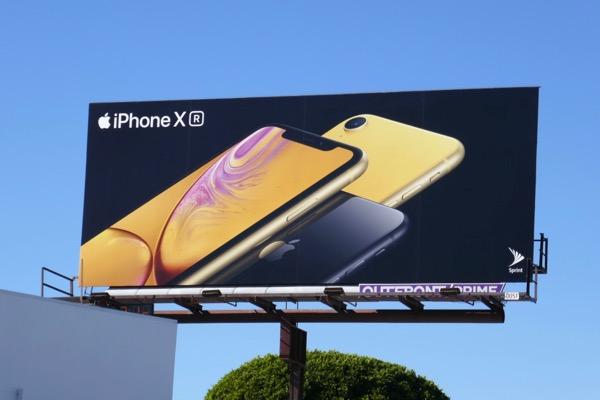 Apple iPhone XR yellow billboard