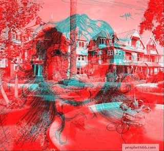 Artistic Image of the ghost at Winchester House in 3D