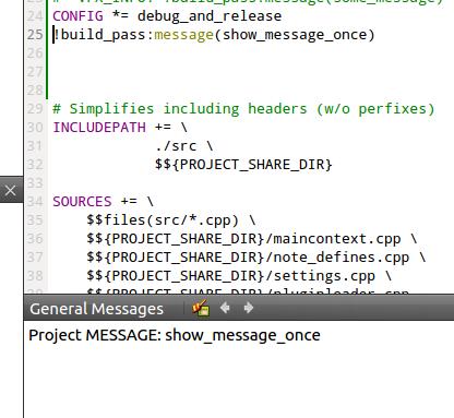 Где-то тут что-то есть: qmake: дублирование вывода message(some)