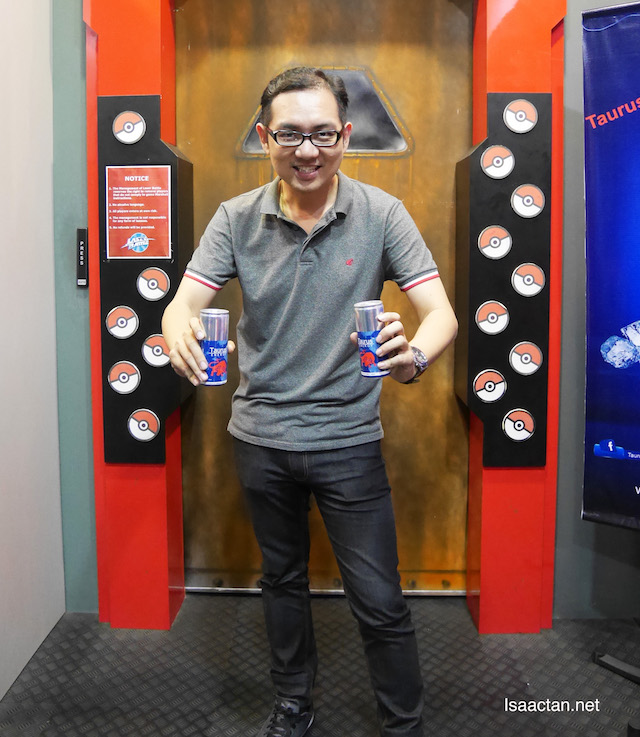Not one, but two Taurus Energy Drink in hand