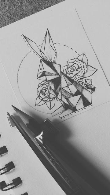geometrical,bunny,tattoo,design, bunny tattoo