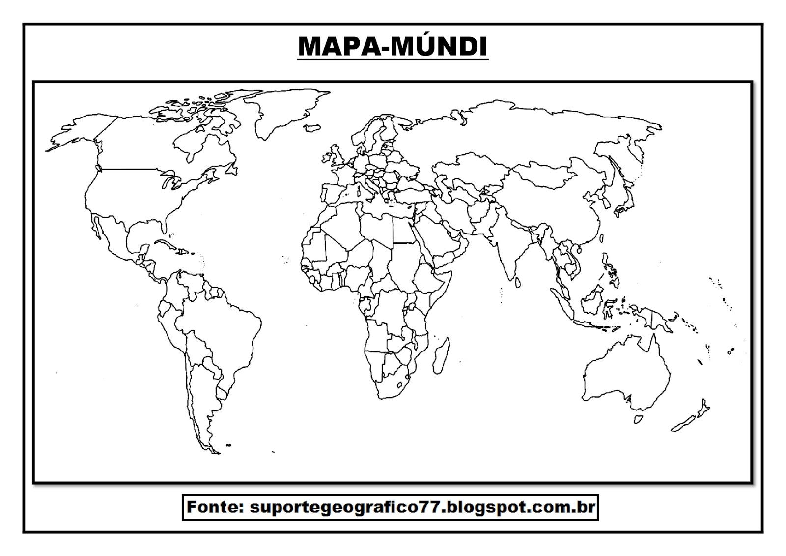 mapa mundo para colorir Suporte Geográfico: MAPA MÚNDI PARA COLORIR mapa mundo para colorir