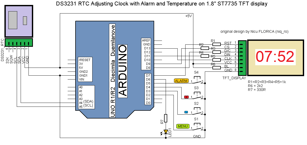 Arduino tehniq another adjusting clock with alarm