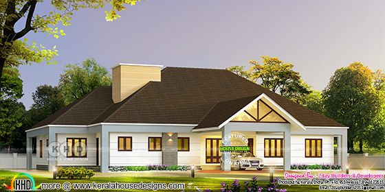 Bungalow style 5 bedroom sloping roof home