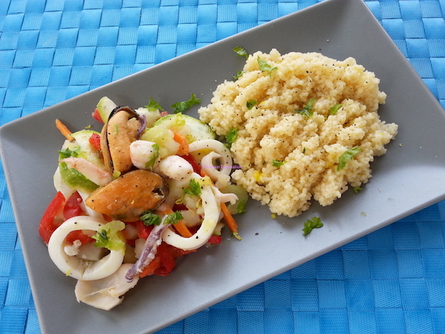 Cous cous con pesce e verdure - Vegetables and seafood couscous