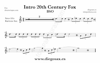 Partitura de la Sintonía de la 20th Century Fox para Saxo Alto y Baritono by Alfred Newman Sheet Music for Alto Saxophone and Baritone Sax Music Scores