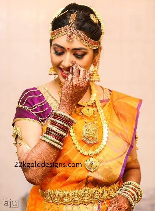 South Indian Bride in Temple Jewellery