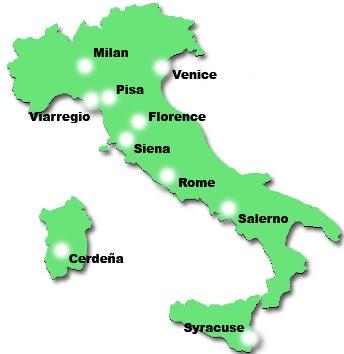 Resultado de imagen de mapa italia ciudades