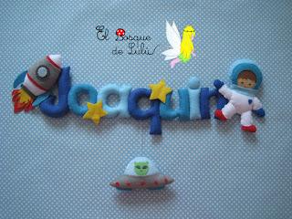 nombre-fieltro-felt-feltro-elbosquedelulu-astronauta-decoración-infantil-regalo-nacimiento-personalizado-name-banner-babyroom