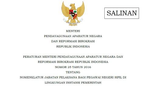 Permen PANRB 25 Tahun 2016 Tentang Nomenklatur Jabatan Pelaksana Bagi PNS Di Lingkungan Instansi Pemerintah