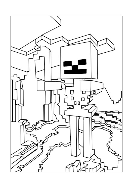 Minecraft Skeleton Coloring Page