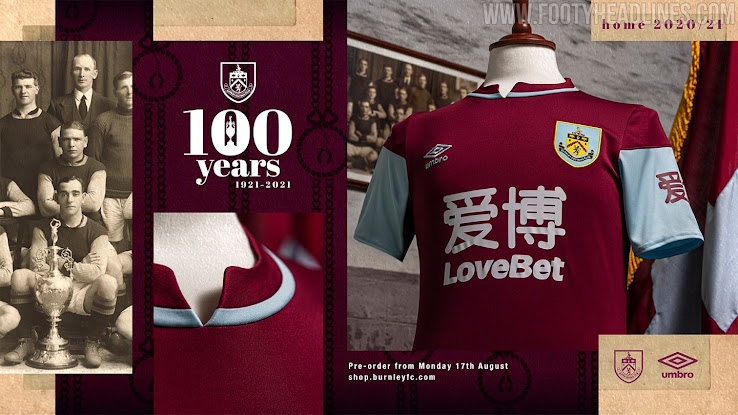 Burnley 20-21 Home Kit Released - Inspired by the '100 ...