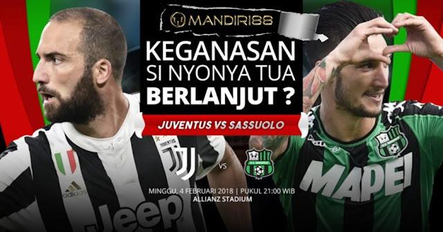 Prediksi Juventus Vs Sassuolo , Minggu 04 February 2018 Pukul 21.00 WIB