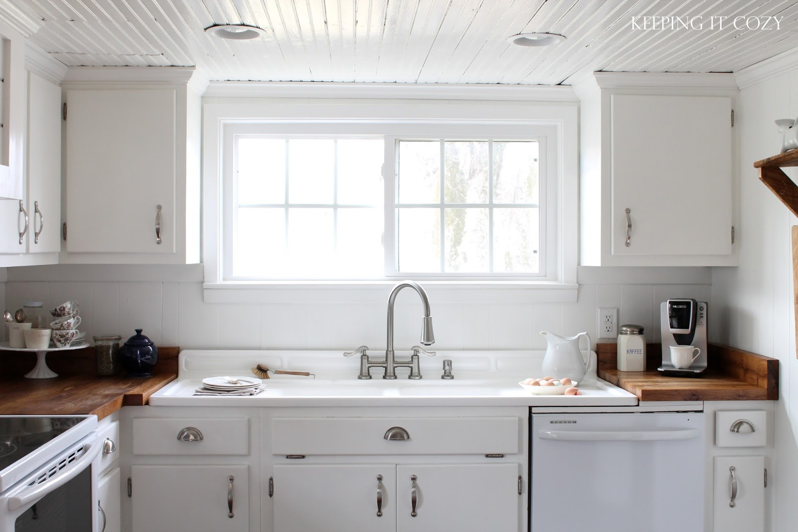 White Beadboard In Kitchens