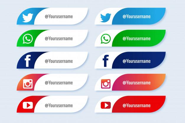 Popular social media lower third icon creative set Free Vector